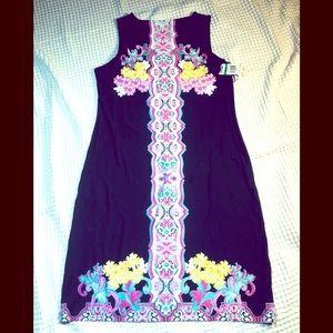Sleeveless mini floral and navy dress